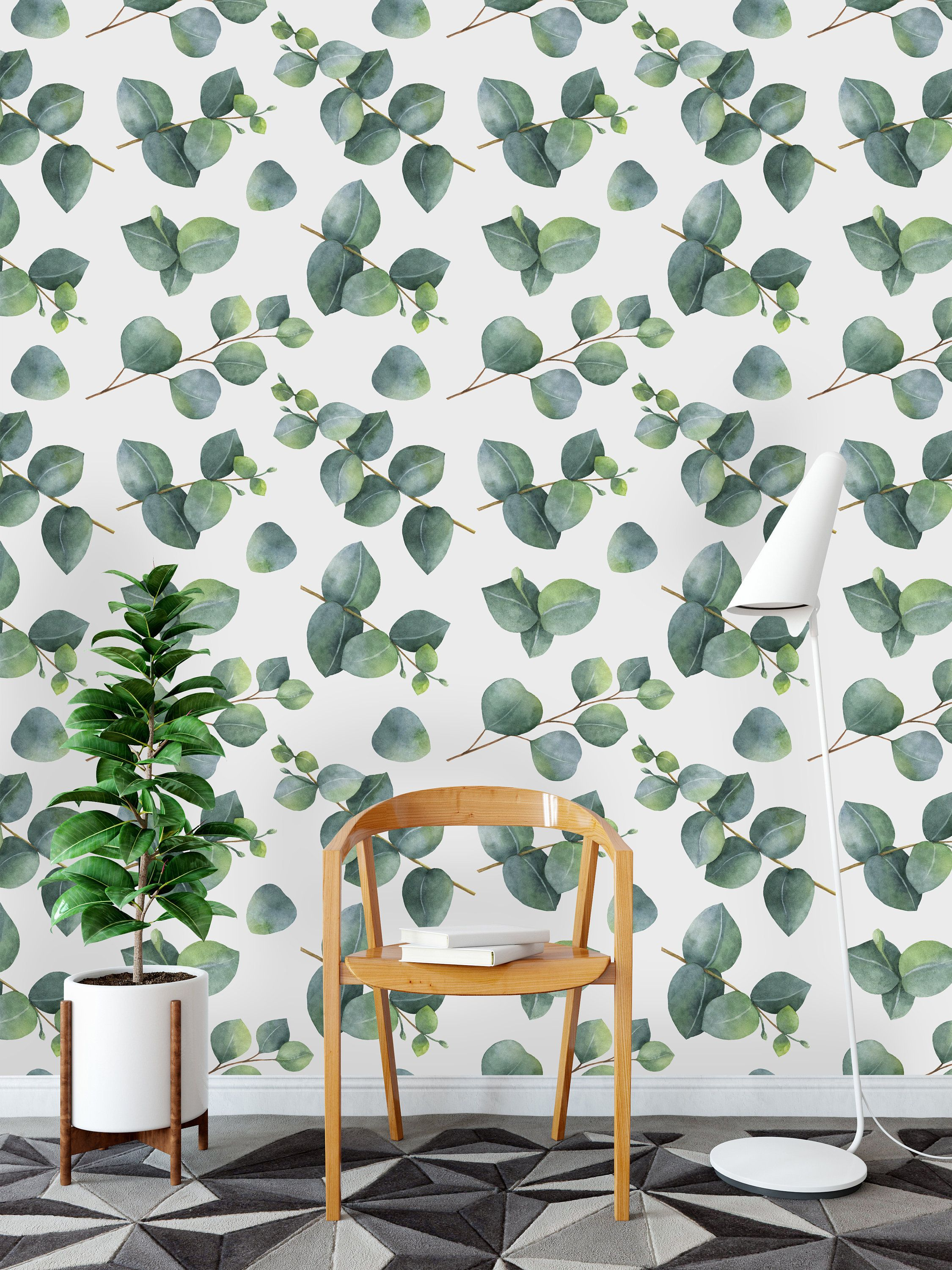 Eucalyptus Leaves And Branches Removable Wallpaper Peel And Etsy Wall Murals Wall Wallpaper Mural