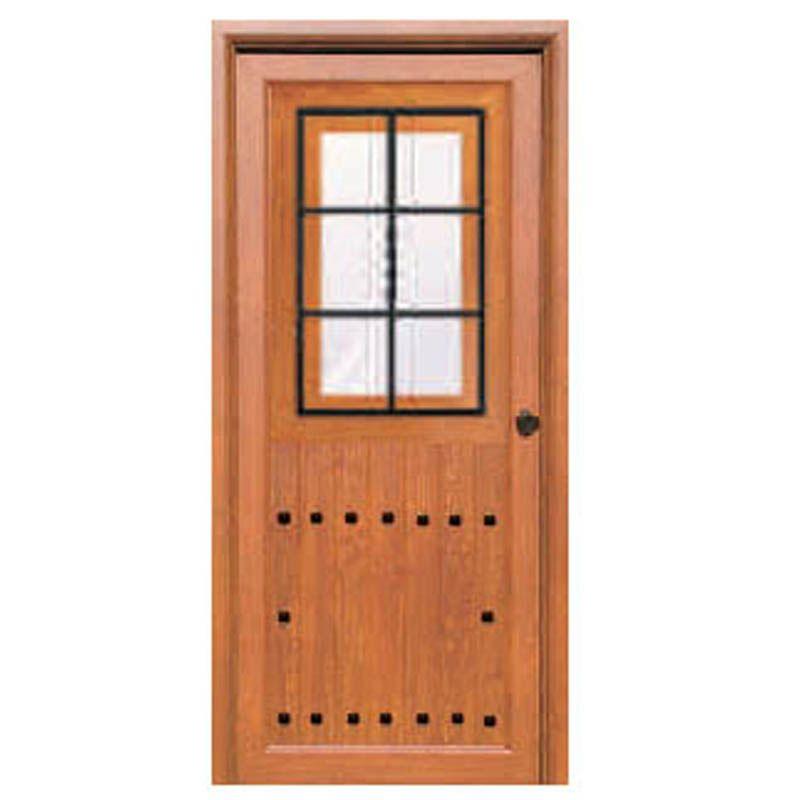 Puerta rustica andalucia con vidrio carpinteria for Puerta madera rustica