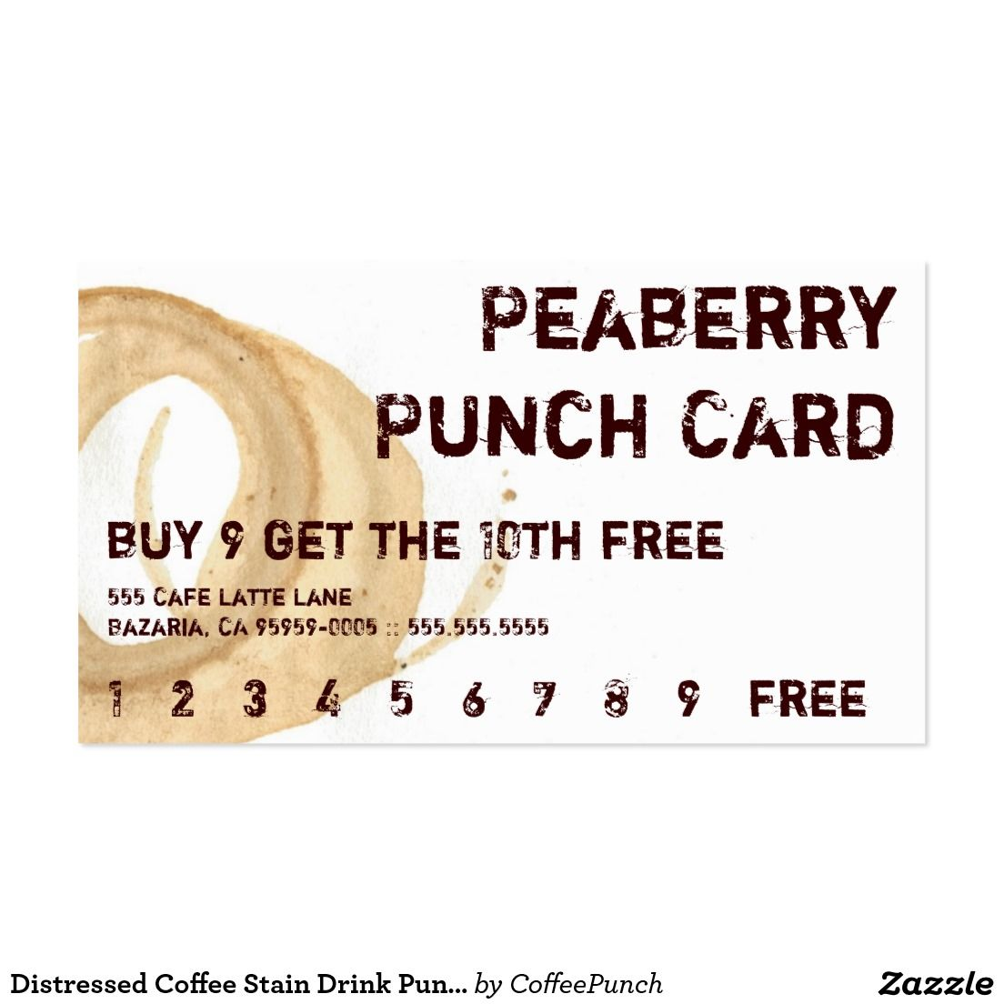 distressed coffee stain drink punchcard business card | stuff sold