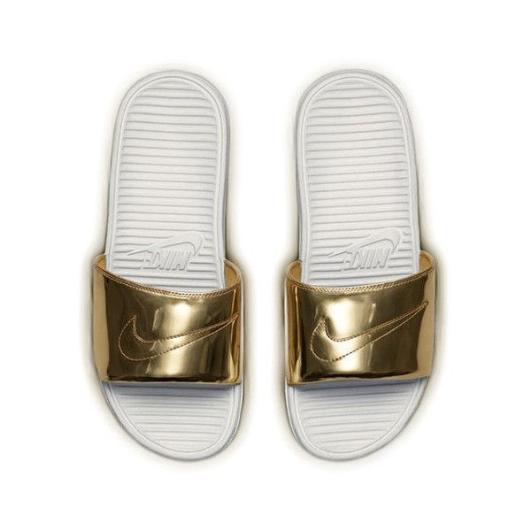 c081e088e4d19 Nike Benassi Liquid Gold Metal Slide ( 250) ❤ liked on Polyvore featuring  shoes