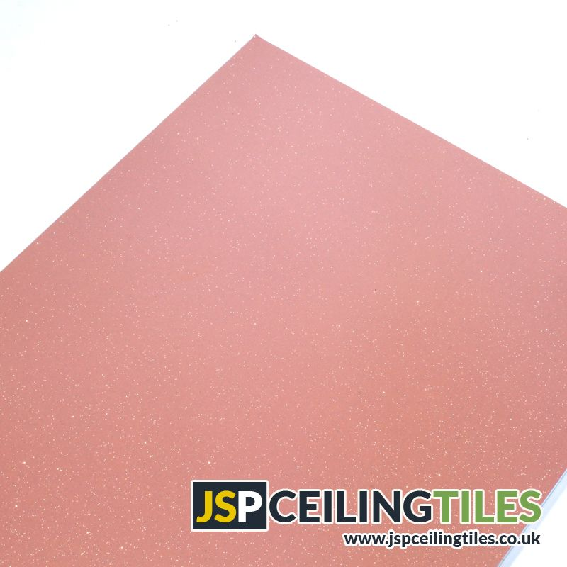 A Suspended Ceiling Tile With A Sparkling Baby Pink Starlight Design