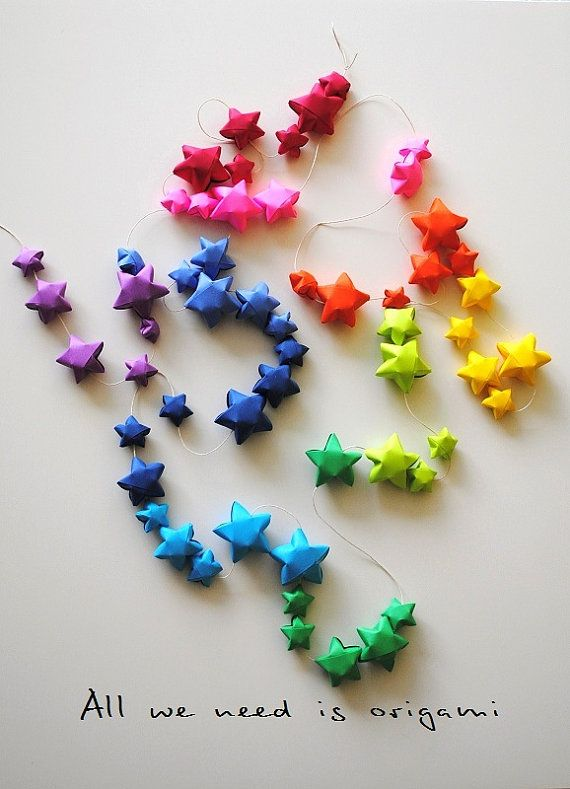 Rainbow Nursery Garland Decoration Origami Garland 9 Feet Long By