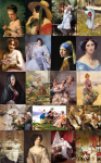 São 100 lindas imagens de quadros clássicos pintados por artistas ícones da história da arte do período Renascentista ao Neoclássico. Tema: Damas antigas  RESOLUçãO DAS IMAGENS: 150 DPI'S FORMATO DOS ARQUIVOS: JPEG OS TAMANHOS DAS IMAGENS SãO BEM VARIADOS ATENDENDO MELHOR QUEM NãO TEM NECESSIDADE DE GRANDES FORMATOS COMO POSTERS E BANNERS. Importante!!! Esse material foi idealizado, pesquisado e confeccionado por mim...