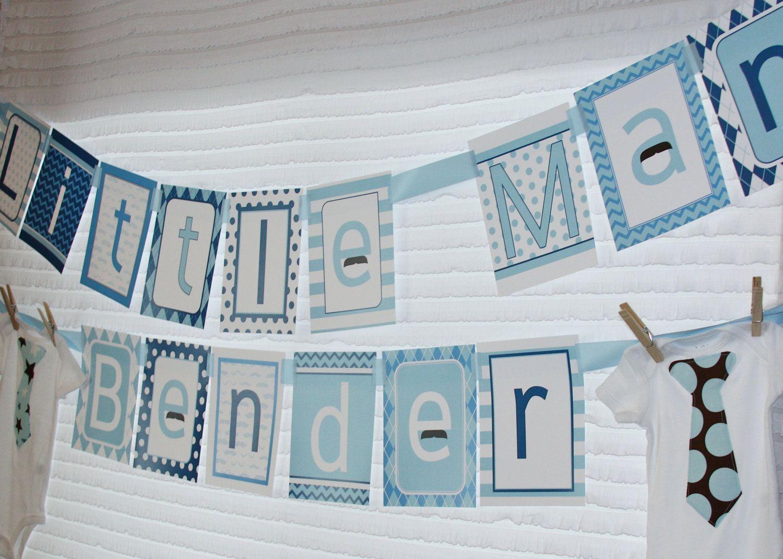 PDF Little Man Boy Baby Shower Banner- Printable DIY. $14.99, via Etsy.