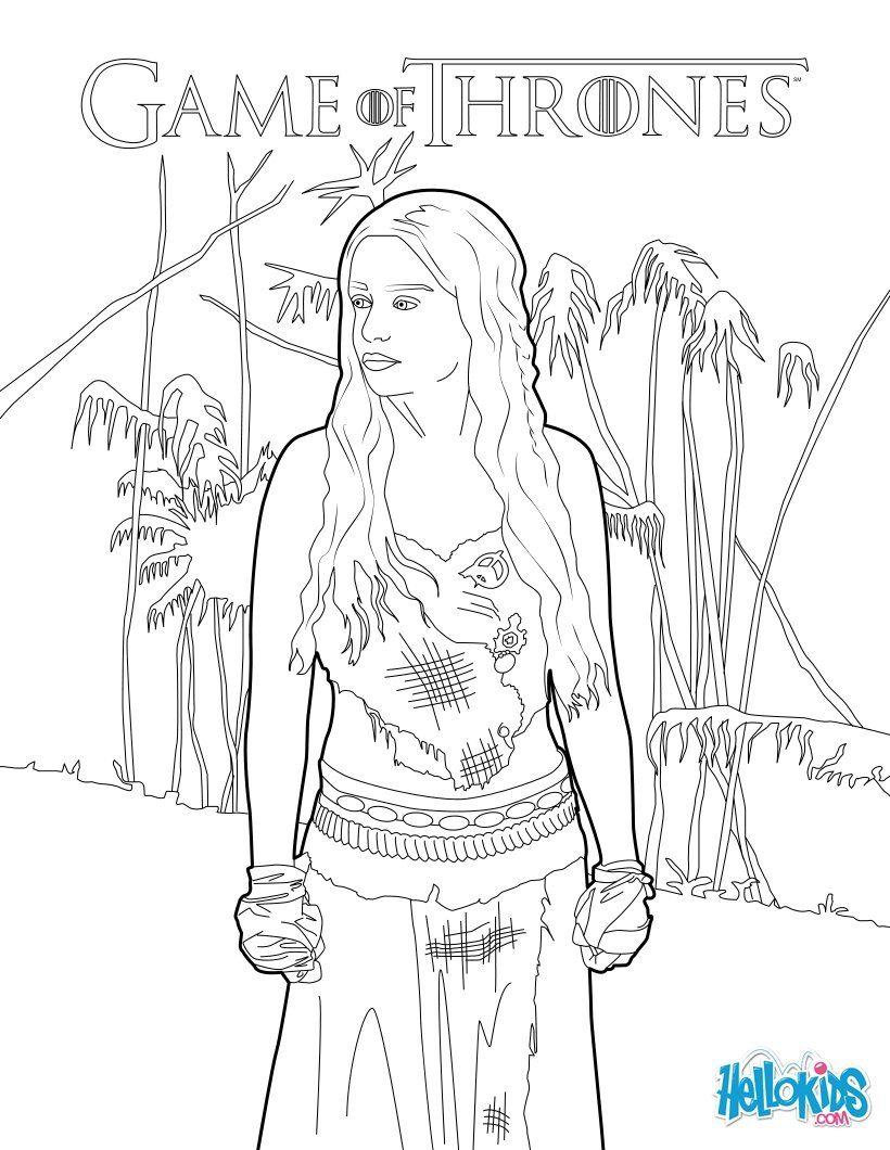 game of thrones princess daenerys targaryen coloring page