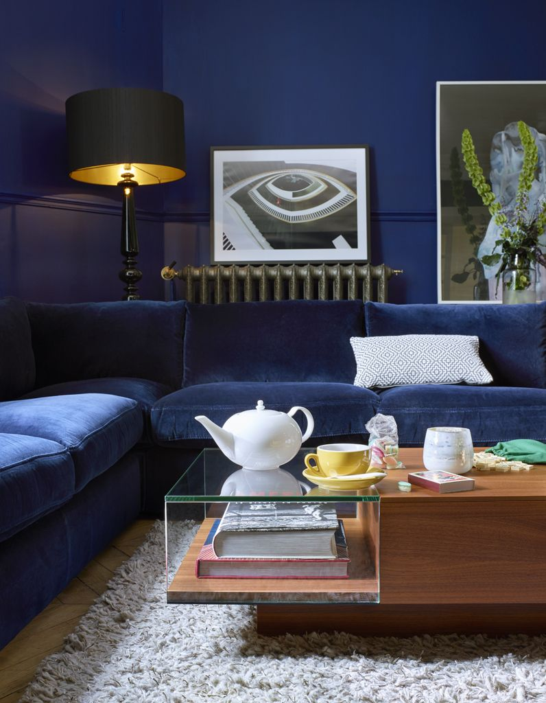 Un salon bleu marine | Interior. Color | Pinterest | Salons ...