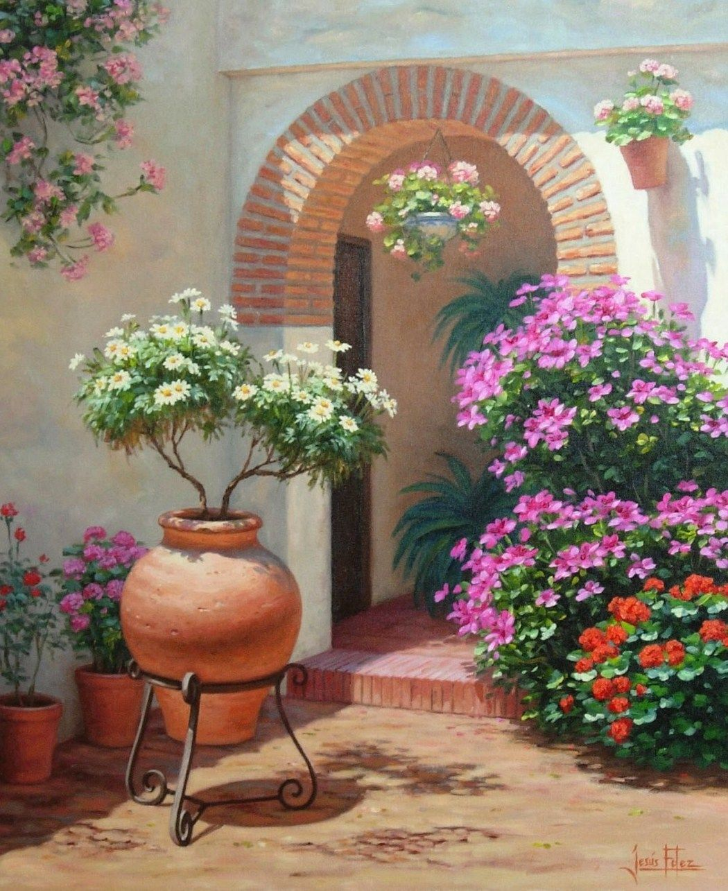 Pinturas cuadros pinturas paisajes con flores by jesus - Jardines con rosas ...