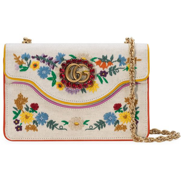 214413577880 Gucci Embroidered Small Shoulder Bag (59,460 THB) ❤ liked on Polyvore  featuring bags, handbags, shoulder bags, women, handbags shoulder bags, ...