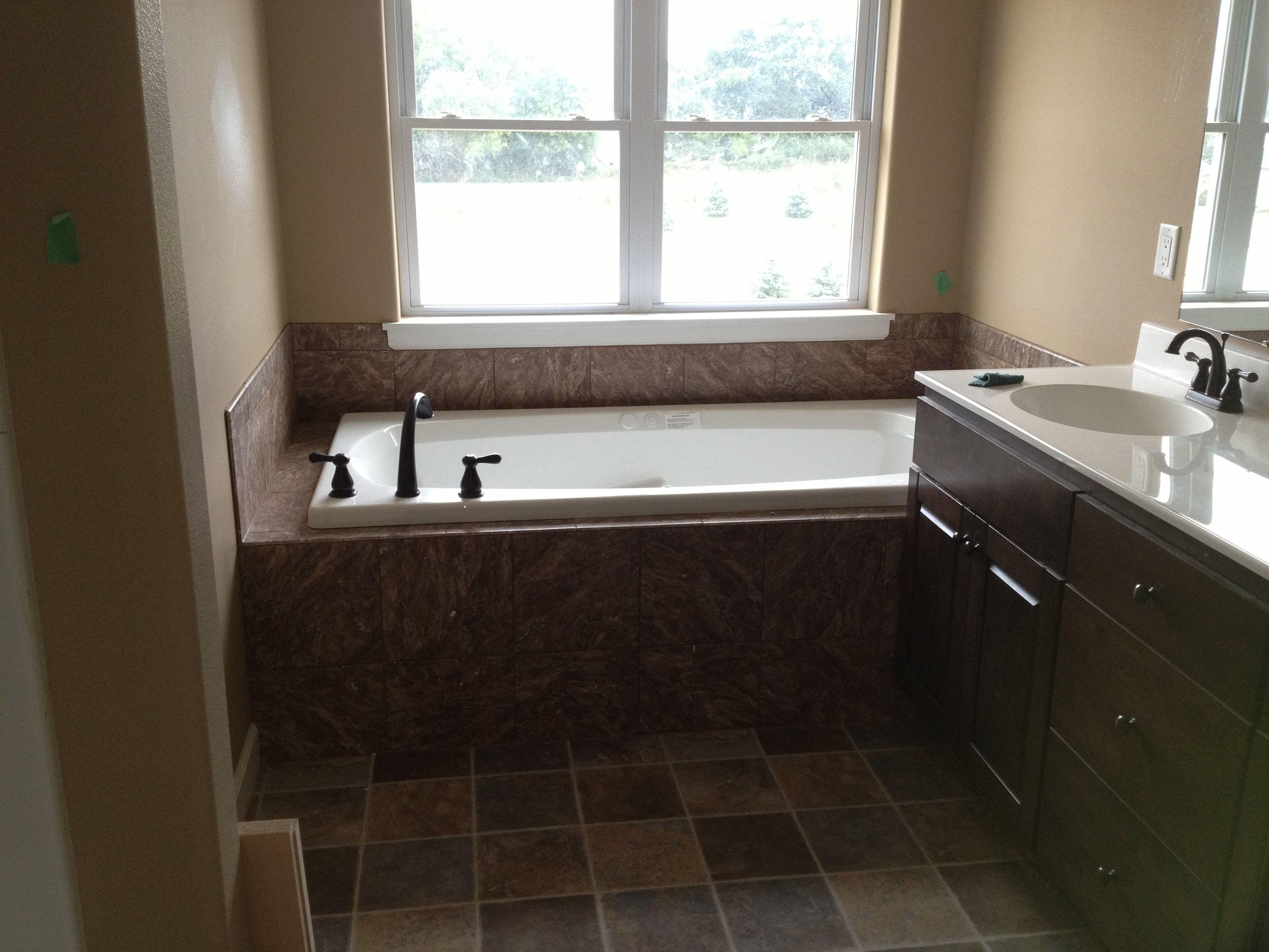Master Bath Tiled Tub Front Decking And Splash Guard With - Splash guard for bathroom sink for bathroom decor ideas