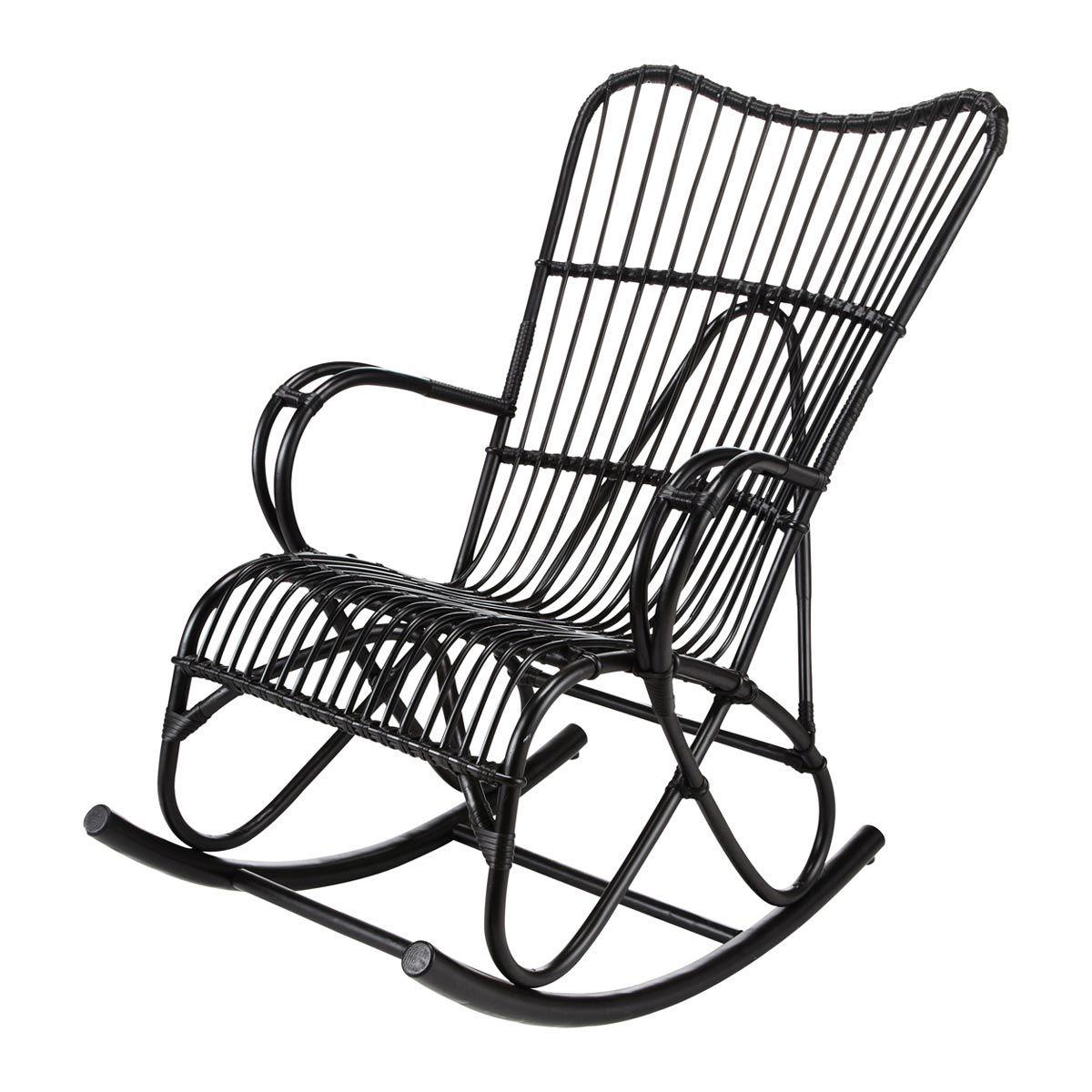 119 80 chez maisons du monde rocking chair rotin noir louisiane fauteuils pinterest. Black Bedroom Furniture Sets. Home Design Ideas