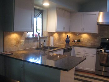 Subway Tile Backsplash With Granite Counters Track Lighting