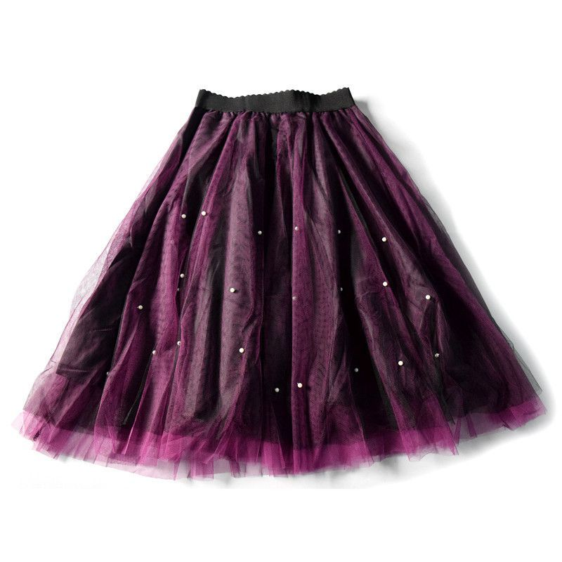 Tulle Skirt 2017 Spring Summer Style Elastic Waist Pearl Skirts Women Ball Gown Voile Skirt Tutu Faldas Saias Femininas 5 Colors