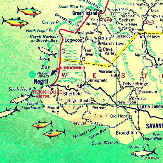 New vibrant square photograph of a vintage map of west end of new vibrant square photograph of a vintage map of west end of jamaica featuring the rockhouse hotel and negril map is altered and embellished gumiabroncs Image collections