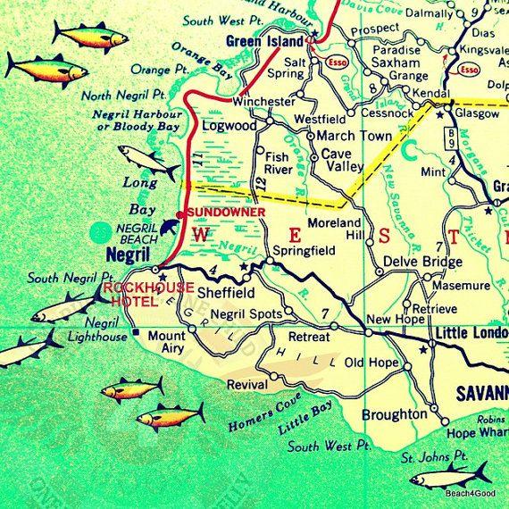 Jamaica map art Jamaica Map Print Negril Jamaica Map Rockhouse