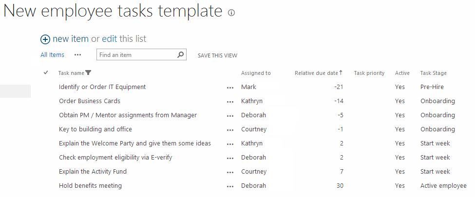 New Employee Tasks Template Employee Onboarding Microsoft - Employee onboarding template