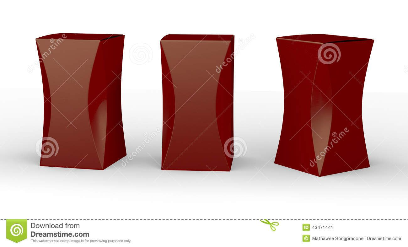 Glossy red box package with curve clipping path included