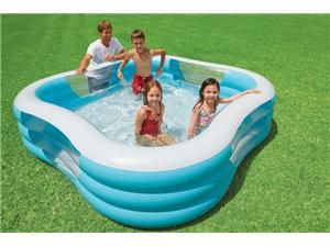 Intex Swim Center 90in X 90in X 2in Inflatable Play Kids Backyard Swimming Pool Newegg Com Swimming Pools Backyard Family Inflatable Pool Family Swimming
