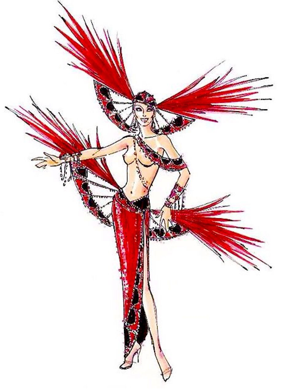 Ruby Jubilee showgirl costume sketch by Bob Mackie
