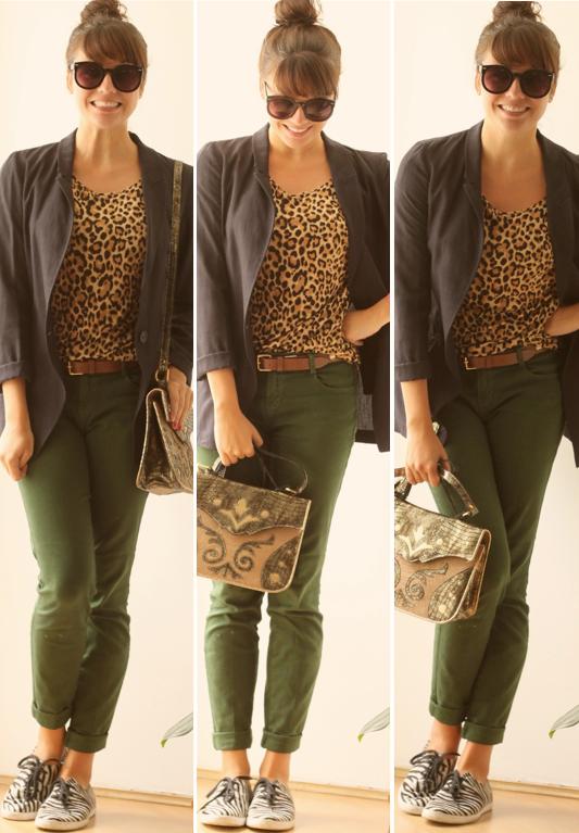 b51b9428c0 Um ano sem Zara  animal prints diferentes no mesmo look - onça com calça  verde militar