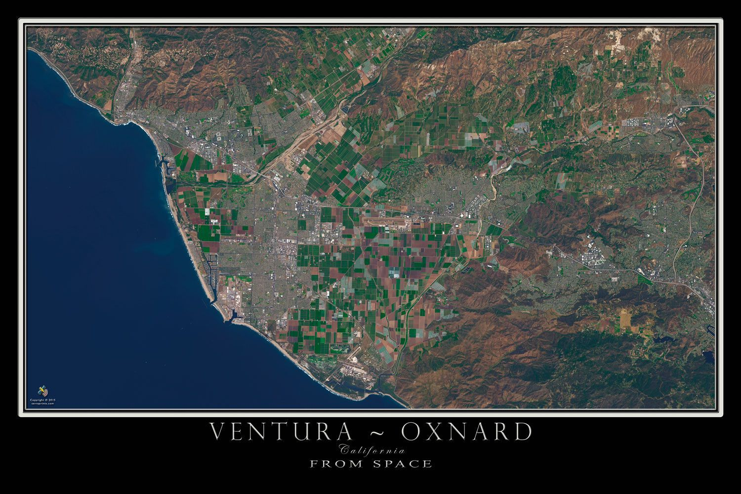Ventura Oxnard California Satellite Poster Map Oxnard California - Los angeles ventura map