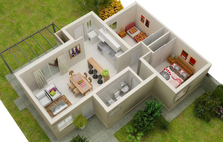 Modelos de casas por dentro de un piso arquitectura in for Ver jardines de casas pequenas