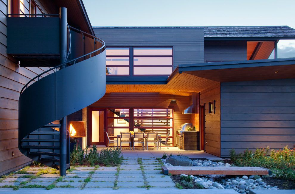 Best Enclosed Staircase Exterior Modern With Wood Siding 400 x 300