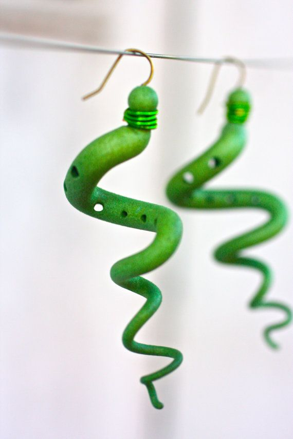 Green Corkscrew Earrings - Crazy Snakes -3d Printed Jewelry