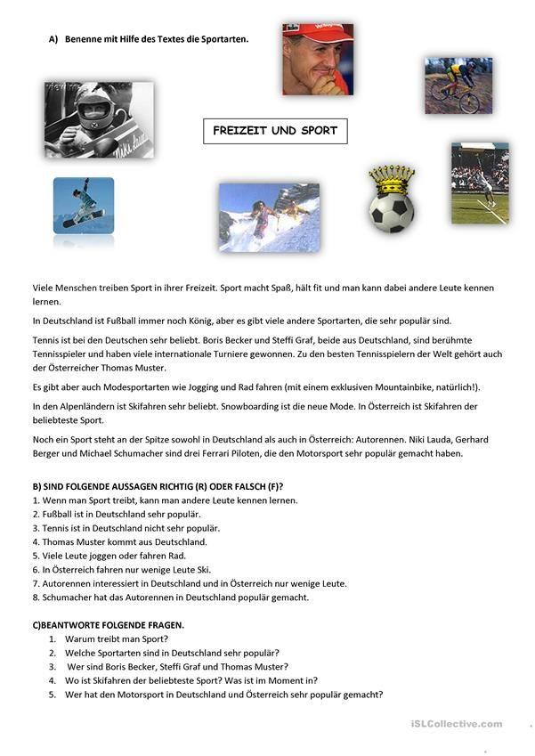 Sport   DEUTSCH 2   Pinterest   Kinder Arbeitsblätter ...
