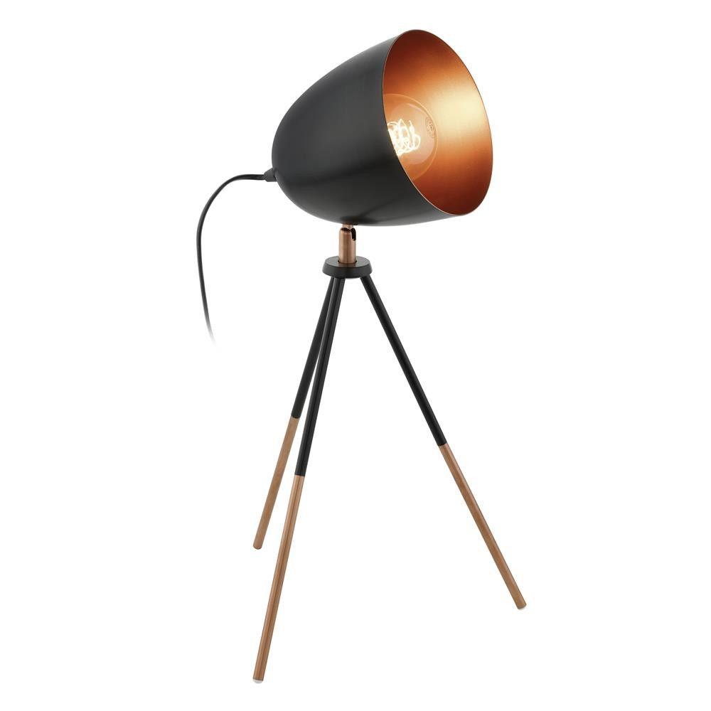 Eglo 49385 Chester Black U0026 Copper Vintage Tripod Dome Head Table Lamp. The  Eglo 49385