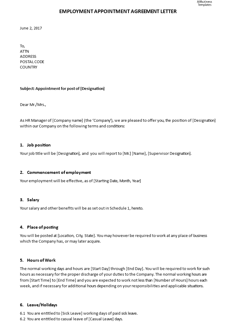 Employment Appointment Agreement Letter  How To Write An