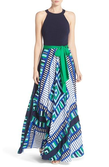 Eliza J Scarf Print Jersey & Crêpe de Chine Maxi Dress