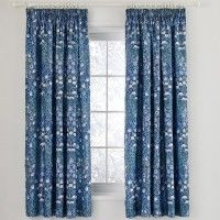 VA Columbine Periwinkle Blue Ready Made Curtains 66x72 Inches Tape Top