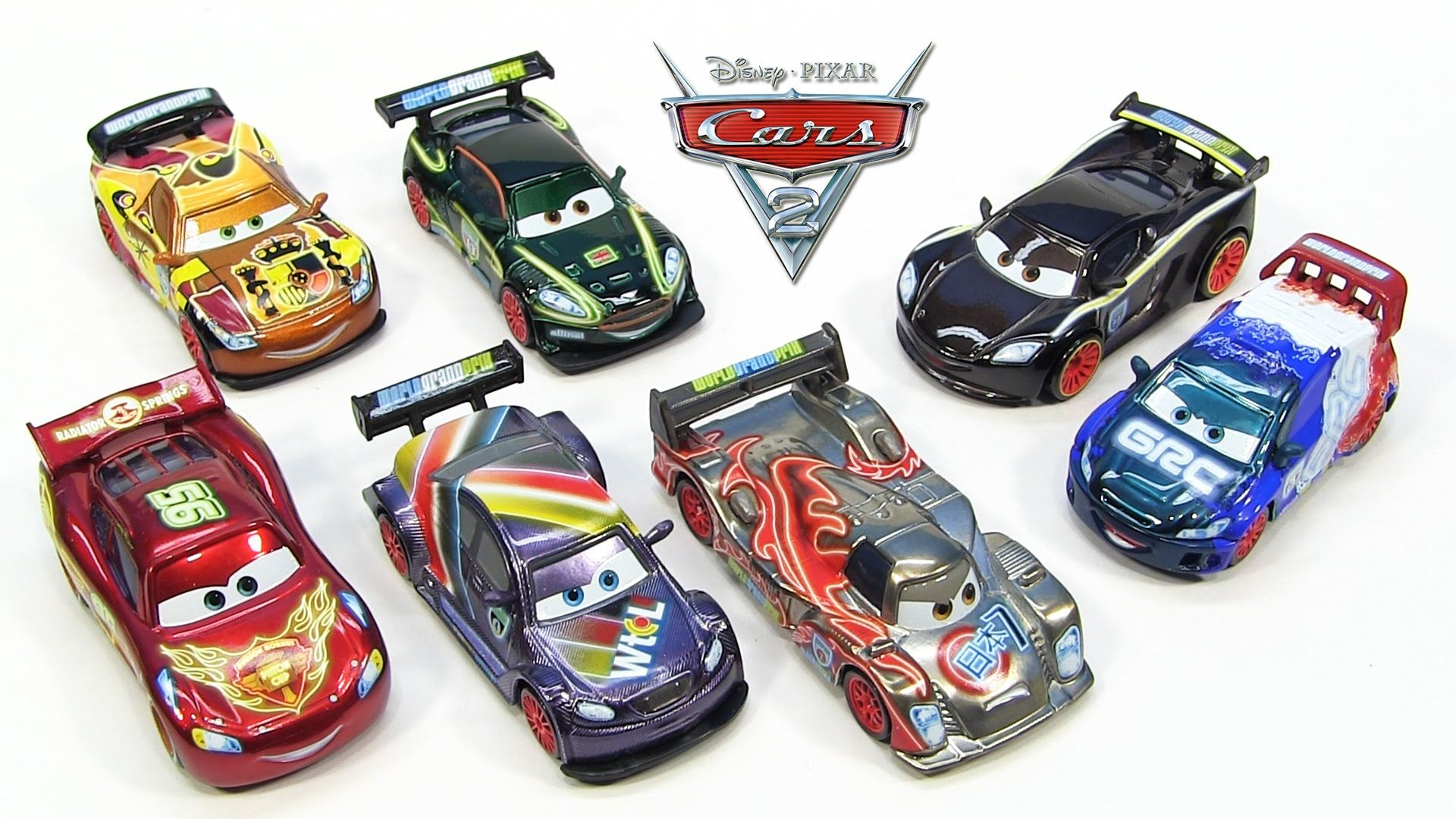 Disney Cars 2 Neon Racers Metallic Finish Lightning Mcqueen Shu