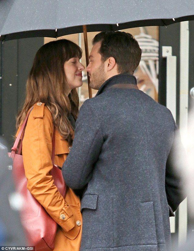 Dakota Johnson Kisses Jamie Dornan On Set After Winning Razzie