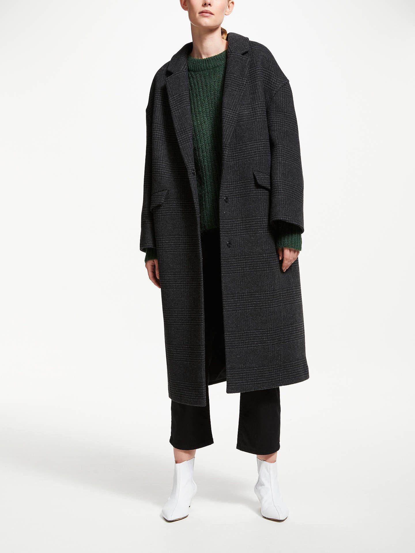 Kin Check Angled Seam Cocoon Coat, Grey