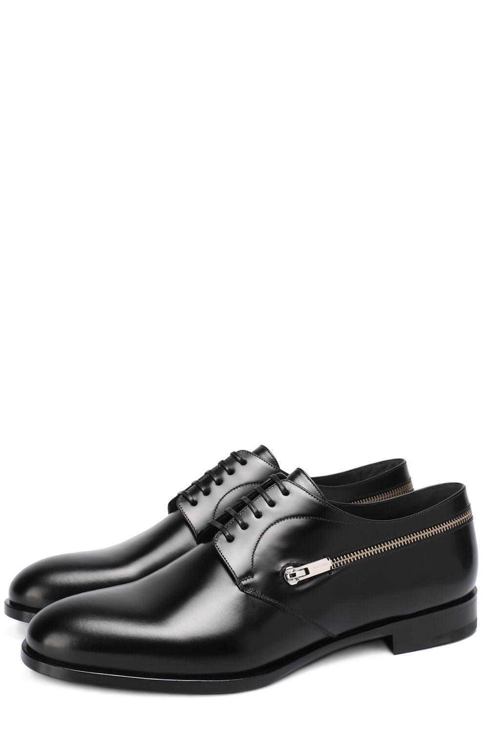 Dior Homme Мужские черные классические кожаные дерби с декоративной молнией  44800 RUB, сезон SS 2017 bd21d55d521