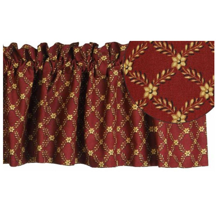 New Primitive Country BARN RED FLORAL DIAMOND Brown Tan Curtain Window Valance #Country