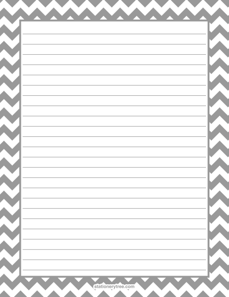 Lovely Printable Gray Chevron Stationery And Writing Paper. Multiple Versions  Available With Or Without Lines.