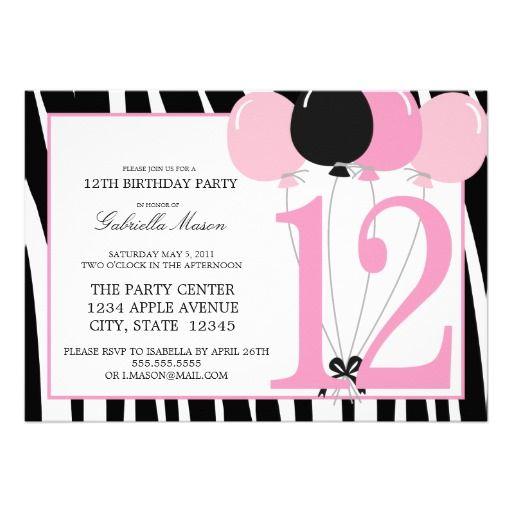 5x7 12th Birthday Party Invite Zazzle Com Birthday Party