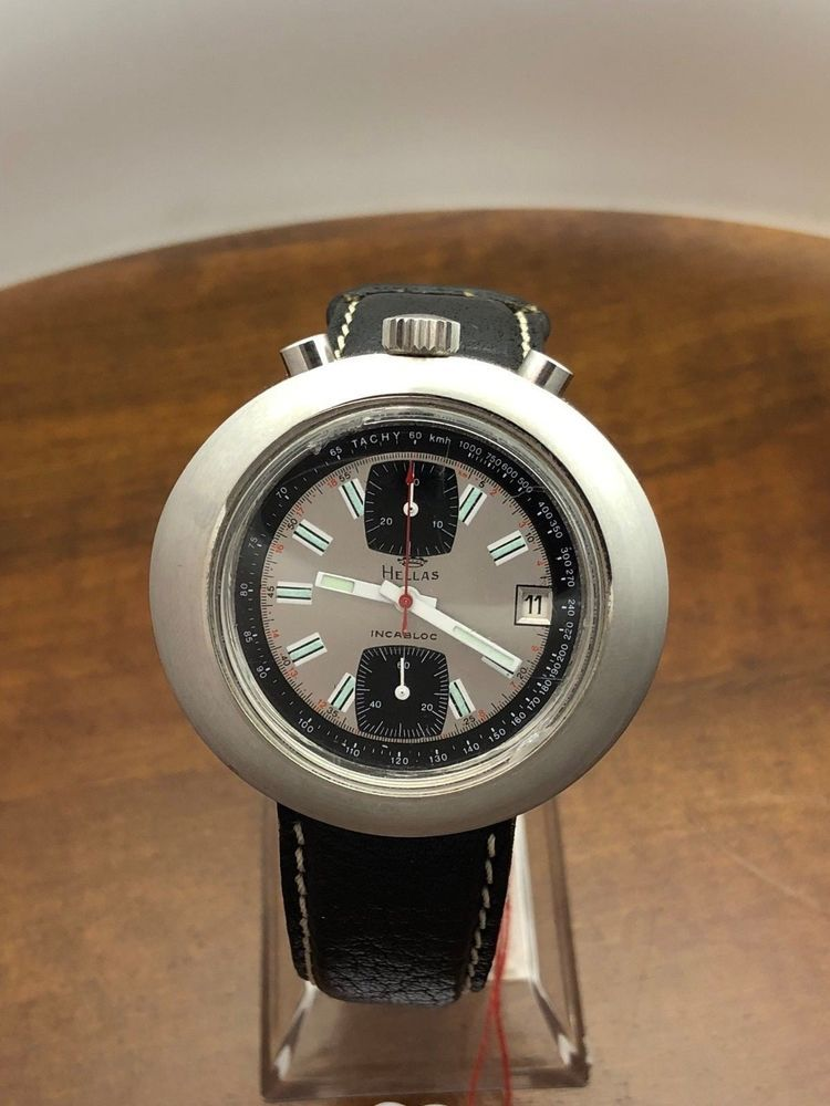 e06362ef4b96 70s vintage watch Bullhead Oversize 46mm tririum brand Hellas vajoux ...