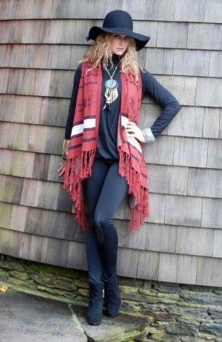 Tasha Polizzi Fall 2015 Acaraho Vest ; shawl, swing, fringe, western, ladies western wear, mustard, black, red