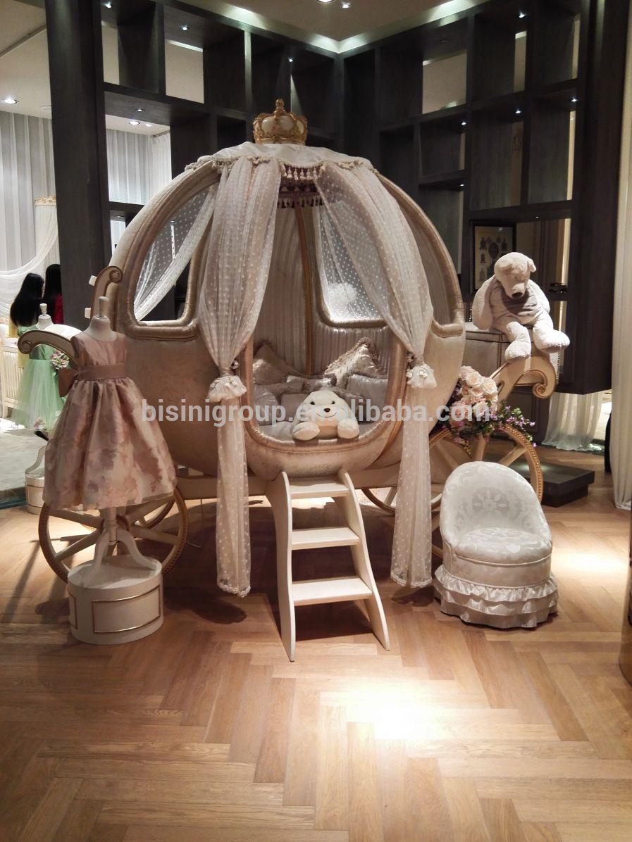 European castle bed design Cinderella pumpkin coach bed