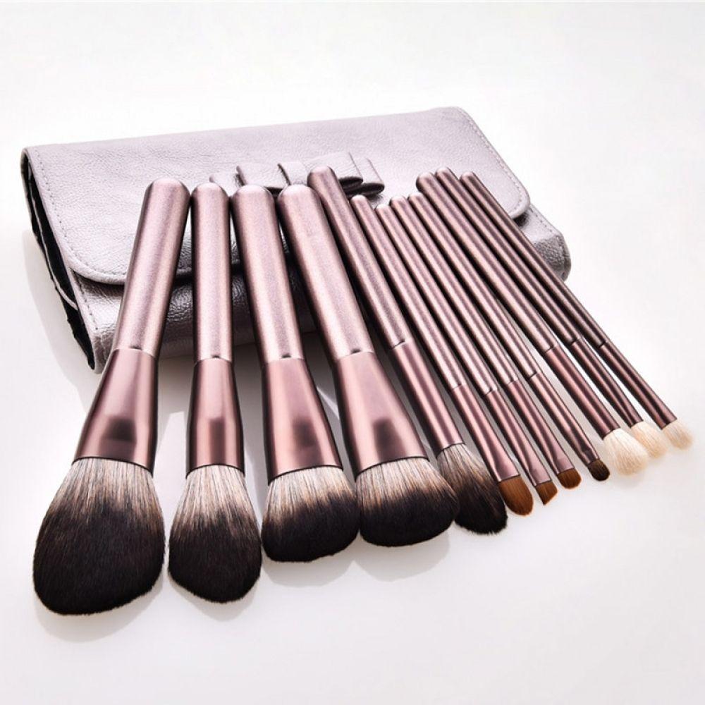 Champagne Makeup Brush Set Foundation Blush Eyeshadow