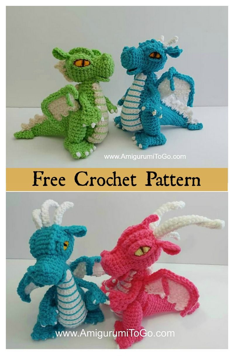 Crochet Amigurumi Dinosaur Free Patterns #crochetdinosaurpatterns