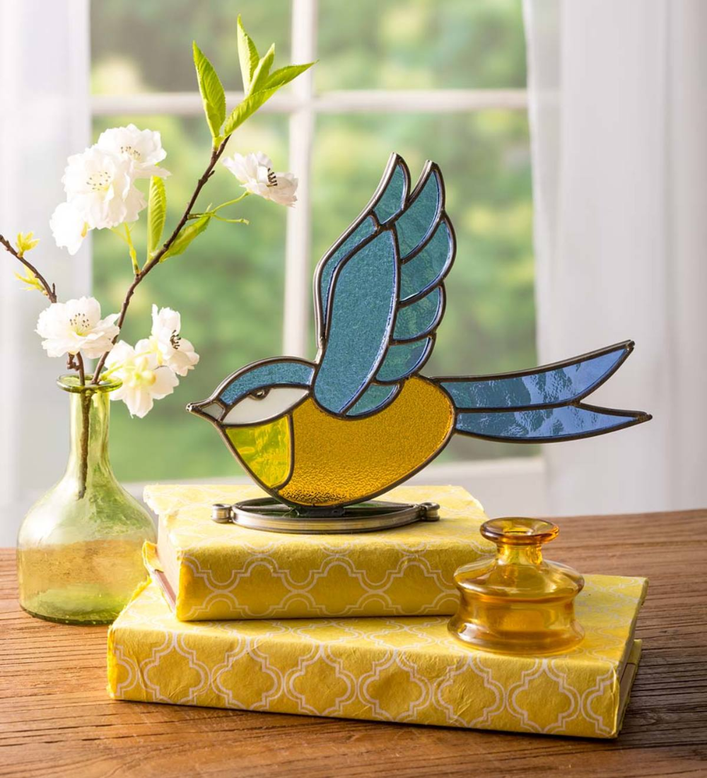 Bring A Feathered Friend To The Table With This Delightful Indoor Outdoor Colorful Stained Glass Fl In 2020 Stained Glass Butterfly Stained Glass Bird Glass Window Art