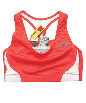 """Finally! """"The North Face Stow-n-Go Sports Bra Two interior compartments are lined to securely and comfortably hold keys, a gym card, and cash. What girl doesn't need this?"""""""