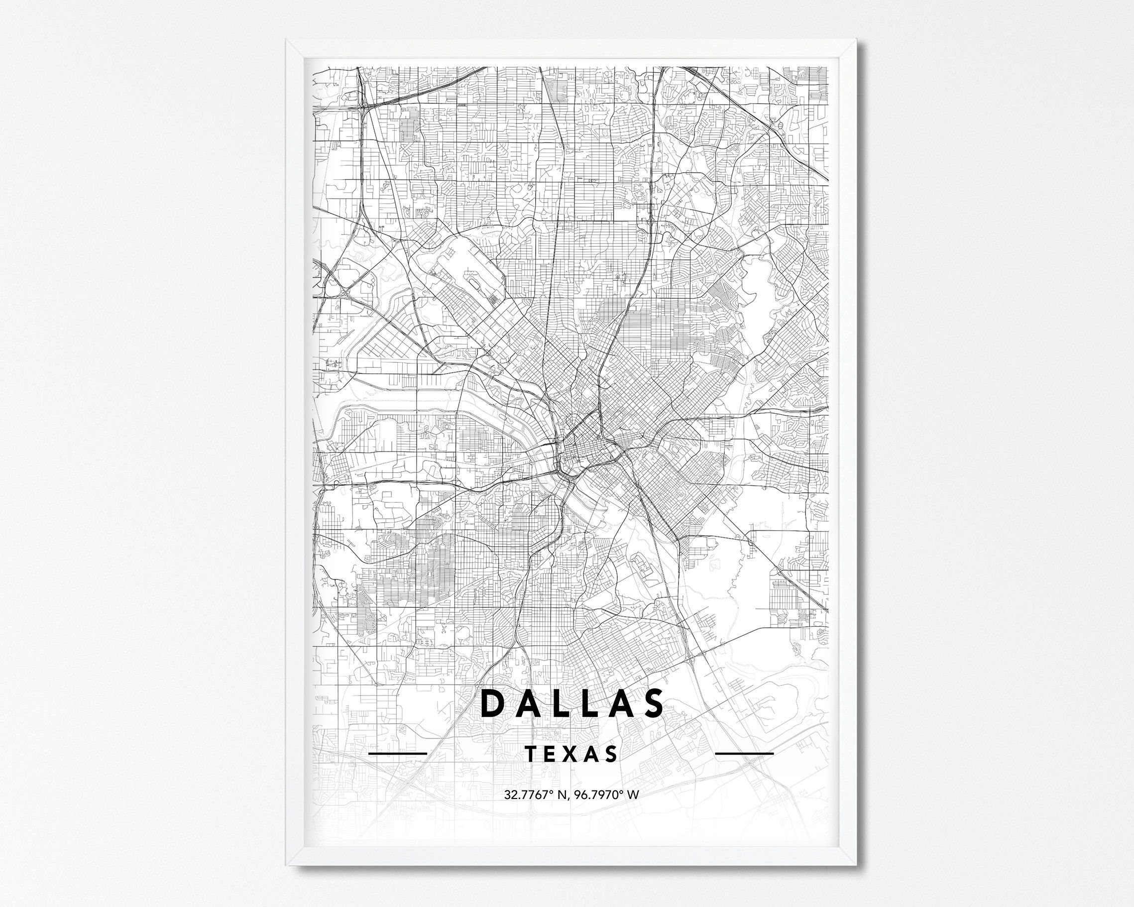 Dallas TX Map Print, Custom Map Print, Dallas City Map