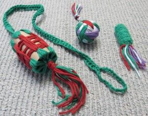 Inexpensive homemade cat toys. Cardboard tube, practice golf ball and yarn. Kitten toys for hours of playtime!