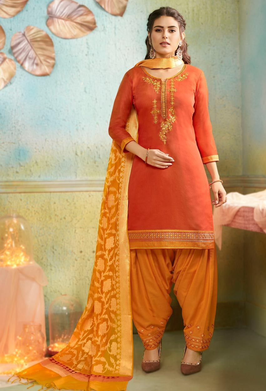Orange Punjabi Patiyala Salwar Kameez