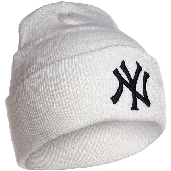 Amazon.com   New York Yankees White Cuff Beanie Hat - MLB Cuffed... ( 9.93)  ❤ liked on Polyvore featuring accessories 5a59b63313f